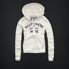 Gilly Hicks Abercrombie Hollister White Zip Up sweat Shirt Hoodie M New | eBay