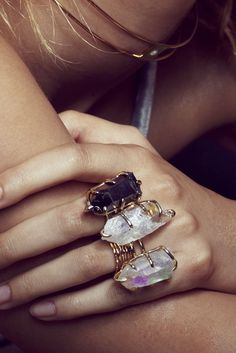 Chunky quartz crystal & wire rings