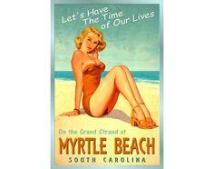 MYRTLE BEACH S Carolina Ocean Beach Miley Pin Up by PosterDog