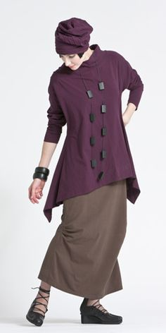 The assymetrically hemmed, long tunic over a slim skirt-- KALIYANA --