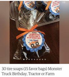 Tractor Birthday, Farm Birthday, Favor Bags, Pop Tarts, Tractors, Monster Trucks, Favors, Soap, Packaging