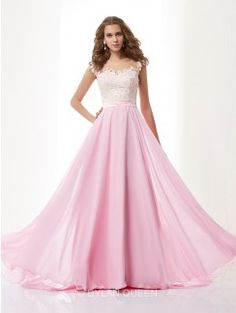 A-Line/Princess Straps Sleeveless Applique Sweep/Brush Train Chiffon Dress With Beading
