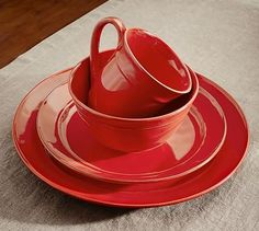 I have these. I love them! - Jennifer     Cambria 16-Piece Dinnerware Set - Red #potterybarn Plates, red, Valentine, Valentine's Day, Table, Tablescape, 4th of July, Christmas, Christmas Tablescape, 4th of July Tablescape, PB, red plates, Pottery Barn