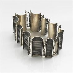 Bracelet | Harry Bertoia.  Sterling silver with applied patina.  ca. 1950.