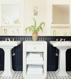 Black And White Bathrooms With Wainscoting
