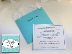 Baby Shower Invitations - Stork & Co. - Tiffany Co. Inspired Bag Shape - Tiffany Blue - Set of 5. $20.00, via Etsy.