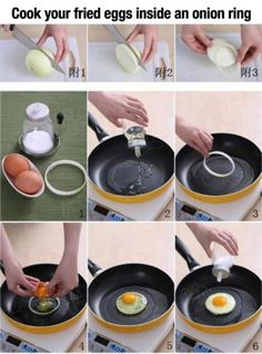For a perfect egg, fry it inside an onion slice. Really? Anyone try this at home?