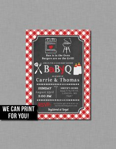 Red Baby Q invitations baby shower gender neutral by CoralBalloon