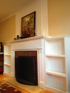 diy fireplace bookshelves | Fireplace Before Fireplace After