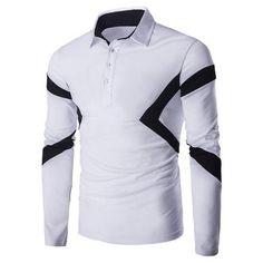 Spliced Long Sleeve Slim-Fit Polo Shirt