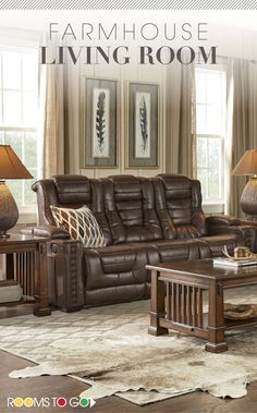 A little bit of country and a little bit of farmhouse design are showcased in the Chief living room.  Each piece has a warm rustic aesthetic and tons of features. Visit Rooms To Go now to see this farmhouse style living room and many more!