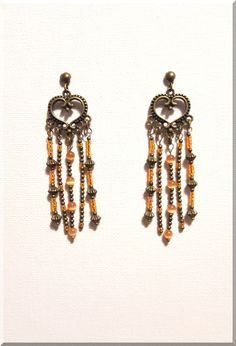 Boucles d'Oreilles bohème en perles oranges et bronze : Boucles d'oreille par aliciart