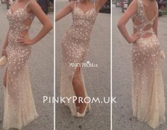 Sparkly long gold prom dress open back