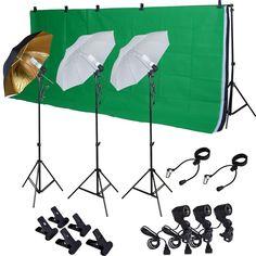 Photo Studio Photography Kit W/3 Light Bulb Lighting Muslin 3 Backdrop Stand Set #Unbranded