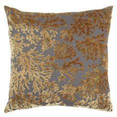 "I like that this has the blue and the champagne color that the curtains will be.  Corales Pillow 24"" from Z Gallerie"