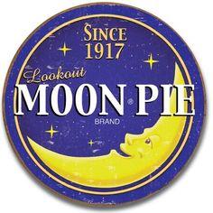 Moon Pie | Logo | Tin | Metal | Sign | Nostalgic | Vintage | Retro | Round | A Simpler Time