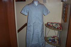 Maternity Alexandra Grey with White Trim Nurse Uniform Dress Overall UK 6 / 8