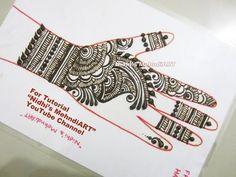 "YouTube easy DIY Arabic mehndi henna design tutorial art creation for front hand. Search ""Nidhi's MehndiART"" YouTube channel for all kind of mehndi henna design tutorial. #fashion #jewellery #trend #bridal #bride #wedding #marriage #festival #tradition #beautiful #girl #london #paris #canada #us #india #surat #ahmedabad #uk #arabic #floral #gulf #dubai #henna #mehndi #mehandi #art #drawing #tattoo #design"