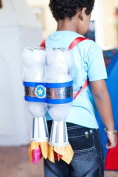 Start saving all your soft drink bottles to make these jet packs! You could use this as a party activity as well and get the kids to decorate them. You can find the tutorial and some other fun rocket party ideas here: http://www.andersruff.com
