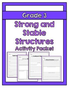 """{Grade Strong and Stable Structures - The """"Strong and Stable Structures"""" activity packet is aligned with the Ontario Grade 3 Science curr - Science Worksheets, Science Curriculum, Science Classroom, Science Lessons, Teaching Science, Science Activities, Elementary Teaching, Science Ideas, Grade 3 Science"""