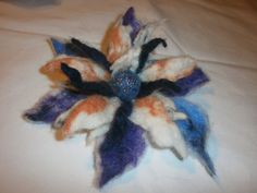 Colourful  Flower Felted   Wool Flower by FahionFeltProducts