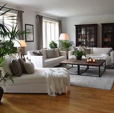 home decor cozy white living room decor - Living Room Interior, Home Living Room, Living Room Designs, Living Spaces, Dark Wood Furniture Living Room, Small Living, Cozy Living Rooms, Living Room Decor With Plants, Modern Living