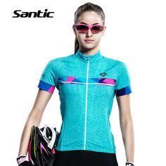 SANTIC Women Cycling Jersey Short Sleeve Anti-sweat Breathable MTB Bicycle Tops BMX Downhill Bike Shirts Jersey Roupa Ciclismo