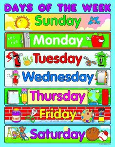 Learning the days of the week is easy when students have a classroom chart! Show students that every day is filled with learning opportunities. The Days of the Week chartlet measures 17 Classroom Charts, Classroom Calendar, Classroom Posters, Classroom Displays, Days Of Week Printable, Early Learning, Kids Learning, Birthday Charts, A4 Poster