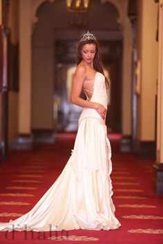 A beautiful gown on the gorgeous Miss World Australia, Victorian Finalist  Designer Fabrics and Wedding Couture: www.ditalia.com.au
