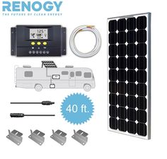 Renogy 100w Watt Solar Panel RV Kit comes with One Renogy Mono Panel, 30amp LCD Display Charge Controller, 16ft Tray Cable, 40ft MC4 kit, and Z brackets