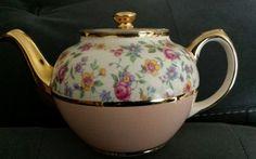 Sadler Teapot Gold Trim Pink Lower Flowers on Upper Half England Vintage #SADLER