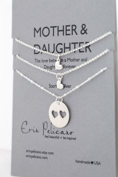 Mother Daughter Necklace. Mother Daughter Jewelry // Inspirational Jewelry // Simple Delicate Sterling Silver by erinpelicano on Etsy https://www.etsy.com/listing/152139610/mother-daughter-necklace-mother-daughter