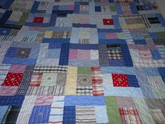 recycled shirt quilt with vintage buttons