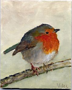 Birds painting by Vitec: Another two Robins.