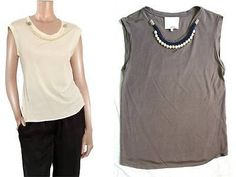 "3.1 PHILLIP LIM ~SILK & COTTON~ LUXE ""GLASS PEARL EMBELLISHED"" TEE TOP $225 XS"