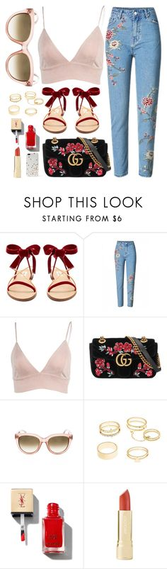 """Insta Look"" by smartbuyglasses ❤ liked on Polyvore featuring Valentino, Gucci, Charlotte Russe, Kate Spade, red and celine"
