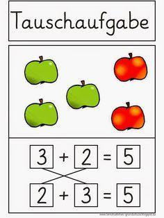 Lernstübchen: Tauschaufgaben - Merkplakat Teacher Education, School Teacher, Primary School, School Days, Number Writing Practice, Writing Numbers, Math Addition, Addition And Subtraction, Second Grade Math