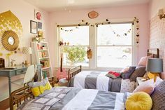 Girls Shared Bedroom - check this out sweetie - not your colors but some fun ideas for your room at Dad's.