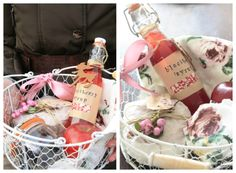 hostess gift basket (I like the pastels and florals)