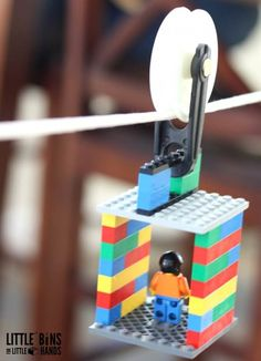Build a LEGO zip line for kids STEM activities. LEGO and STEM go together. This STEM challenge uses a simple pulley to make a toy zip line. Explore physics with a homemade zip line and check out friction, energy, and motion. Science experiments and activi Kid Science, Science Experiment For Kids, Forensic Science, Stem Science, Science Books, Physical Science, Science Fair, Computer Science, Stem Projects