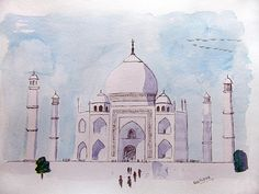 Taj mahal, painting,watercolour,taj,palace,monument,wonder,india,agra,white,watercolor