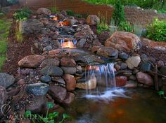 waterfall in garden... would love to put this in the landscape!... :D