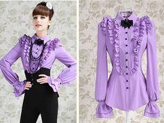 Lolita Princess Shirt Gothic Palace Purple Chiffon Turtleneck Shirt Blouse A115   eBay