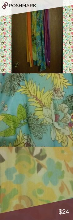 Sheer scarves - bundle of 4 Four pretty, sheer scarves. Two floral, two striped. All NWOT. Accessories Scarves & Wraps