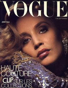 Jerry Hall photographed by Albert Watson, for the September 1984 cover of Vogue Paris.