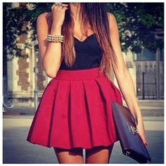 c256e2abf1 dress bag jewels red skirt ref skirt cute crop tops black red dress shirt  scarf pleated skirt red skater skirt tank top