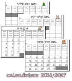 La maternelle de Laurène: Calendriers 2016 - 2017 Calendar Time, Petite Section, Classroom Management, Lund, Teaching, Math, School, Voici, Ps