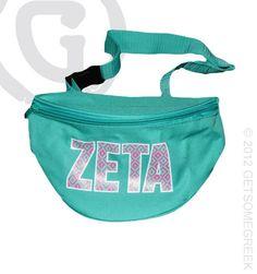 Zeta Tau Alpha Turquoise Fanny Pack