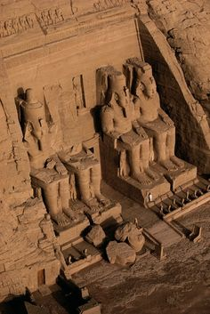 Abu Simbel, Nile Valley,     The archaeological site of Abu Simbel consists of two monumental temples of pink sandstone, built during the reign of Ramesses II (c. 1301–1235 B.C.).  Since 1979 Abu Simbel has been on the list of UNESCO world heritage sites.