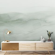 Watercolour Ombre mural in sage green